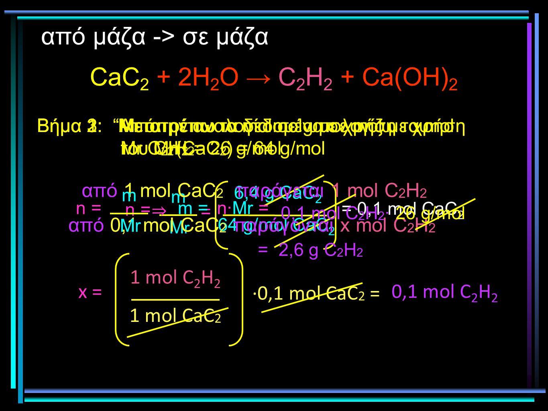 CaC2 + 2H2O → C2H2 + Ca(OH)2 από μάζα -> σε μάζα 1 mol C2H2 x =