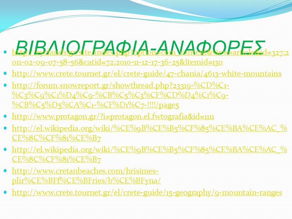ΒΙΒΛΙΟΓΡΑΦΙΑ-ΑΝΑΦΟΡΕΣ