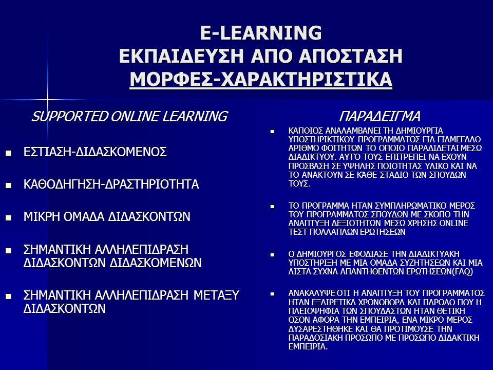 E-LEARNING ΕΚΠΑΙΔΕΥΣΗ ΑΠΟ ΑΠΟΣΤΑΣΗ ΜΟΡΦΕΣ-ΧΑΡΑΚΤΗΡΙΣΤΙΚΑ