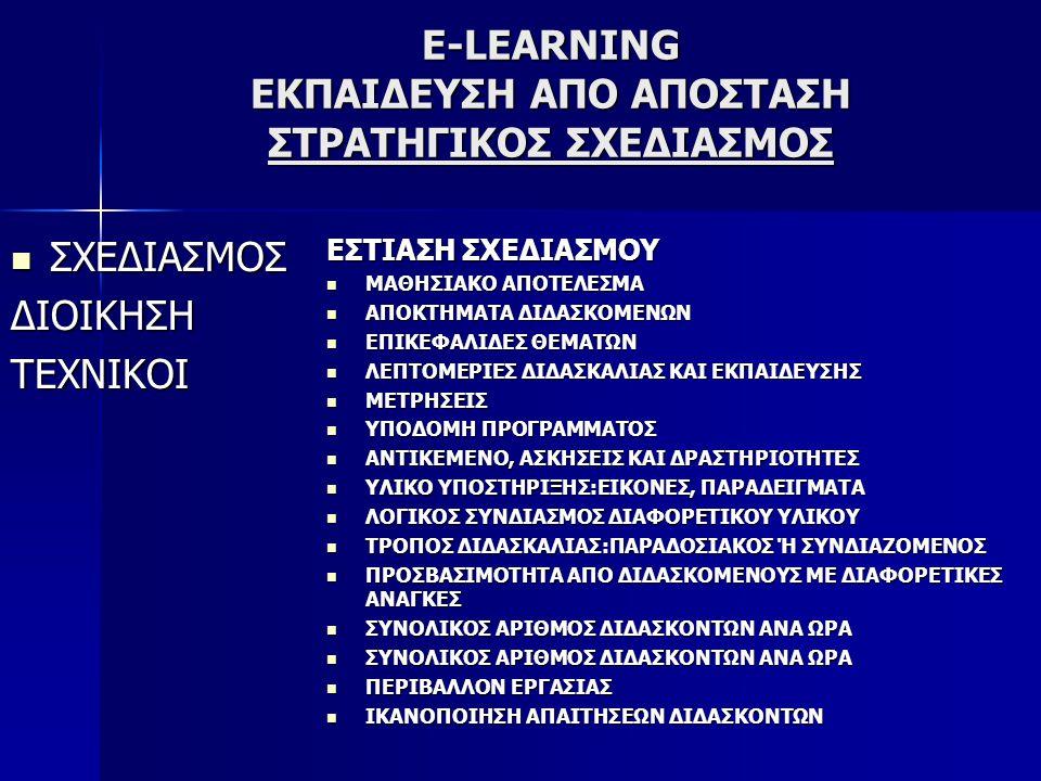 E-LEARNING ΕΚΠΑΙΔΕΥΣΗ ΑΠΟ ΑΠΟΣΤΑΣΗ ΣΤΡΑΤΗΓΙΚΟΣ ΣΧΕΔΙΑΣΜΟΣ