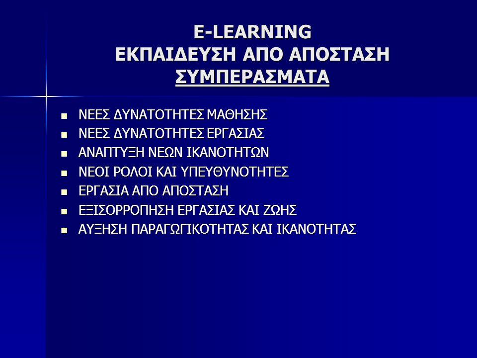 E-LEARNING ΕΚΠΑΙΔΕΥΣΗ ΑΠΟ ΑΠΟΣΤΑΣΗ ΣΥΜΠΕΡΑΣΜΑΤΑ