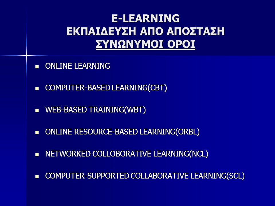 E-LEARNING ΕΚΠΑΙΔΕΥΣΗ ΑΠΟ ΑΠΟΣΤΑΣΗ ΣΥΝΩΝΥΜΟΙ ΟΡΟΙ