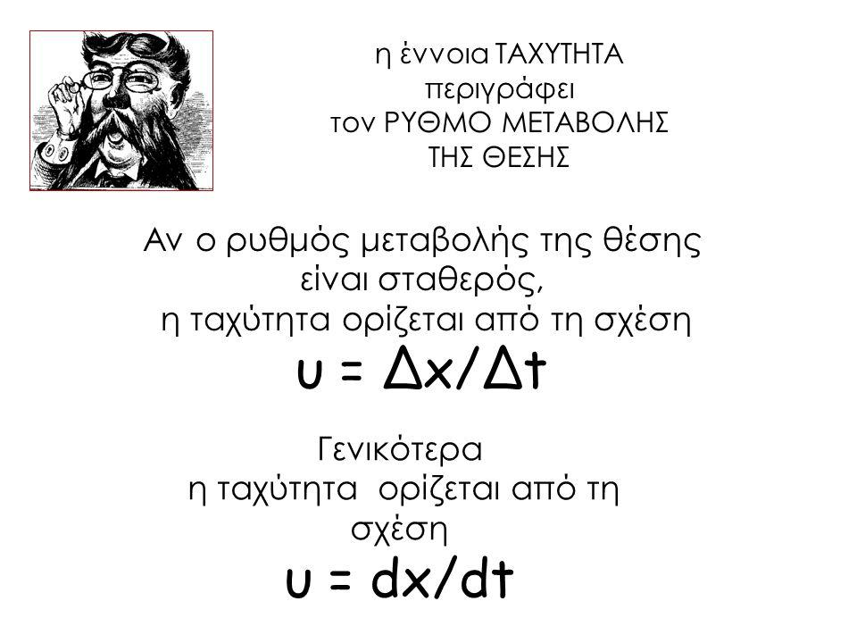 υ = Δx/Δt υ = dx/dt Αν ο ρυθμός μεταβολής της θέσης είναι σταθερός,