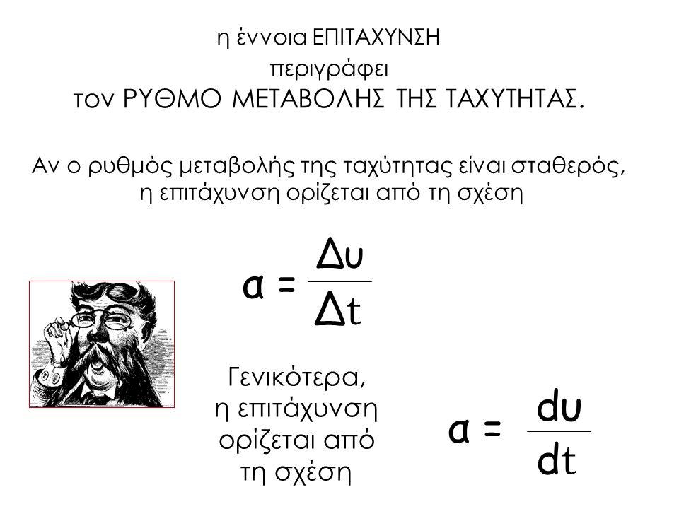 α = Δt dυ α = dt Δυ τον ΡΥΘΜΟ ΜΕΤΑΒΟΛΗΣ ΤΗΣ ΤΑΧΥΤΗΤΑΣ. Γενικότερα,