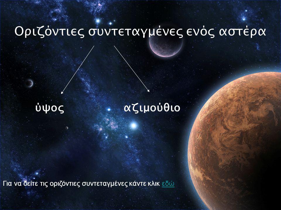 Οριζόντιες συντεταγμένες ενός αστέρα