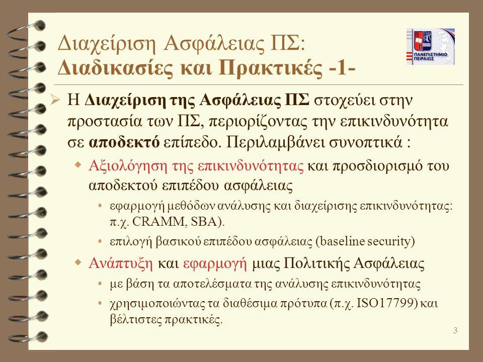 Διαχείριση Ασφάλειας ΠΣ: Διαδικασίες και Πρακτικές -1-