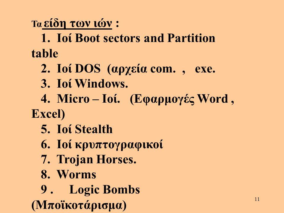 1. Ιοί Boot sectors and Partition table 2. Ιοί DOS (αρχεία com. , exe.