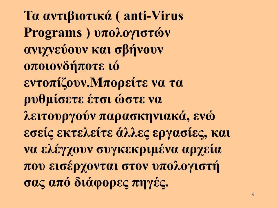 Τα αντιβιοτικά ( anti-Virus Programs ) υπολογιστών ανιχνεύουν και σβήνουν οποιονδήποτε ιό εντοπίζουν.Μπορείτε να τα ρυθμίσετε έτσι ώστε να λειτουργούν παρασκηνιακά, ενώ εσείς εκτελείτε άλλες εργασίες, και να ελέγχουν συγκεκριμένα αρχεία που εισέρχονται στον υπολογιστή σας από διάφορες πηγές.