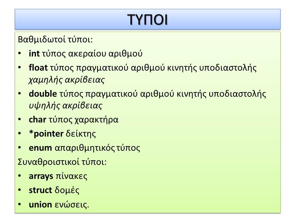 ΤΥΠΟΙ Βαθμιδωτοί τύποι: int τύπος ακεραίου αριθμού