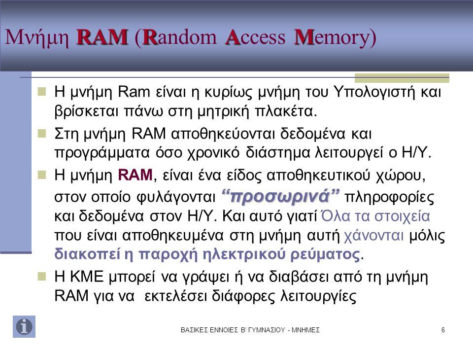 Μνήμη RAM (Random Access Memory)
