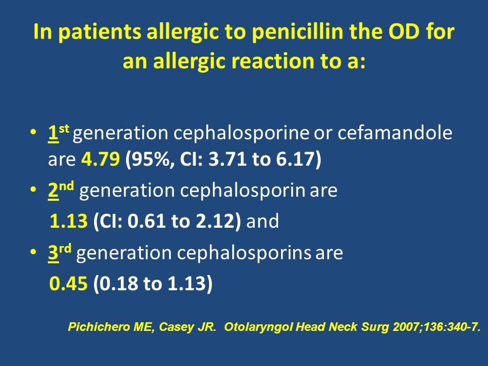 In patients allergic to penicillin the OD for an allergic reaction to a:
