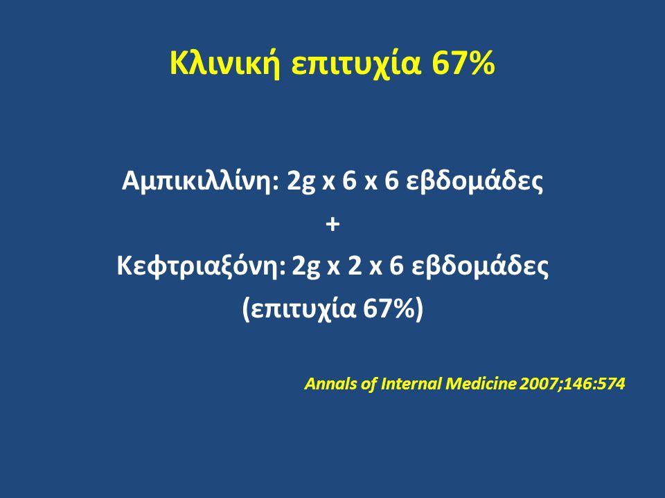 Αμπικιλλίνη: 2g x 6 x 6 εβδομάδες Κεφτριαξόνη: 2g x 2 x 6 εβδομάδες