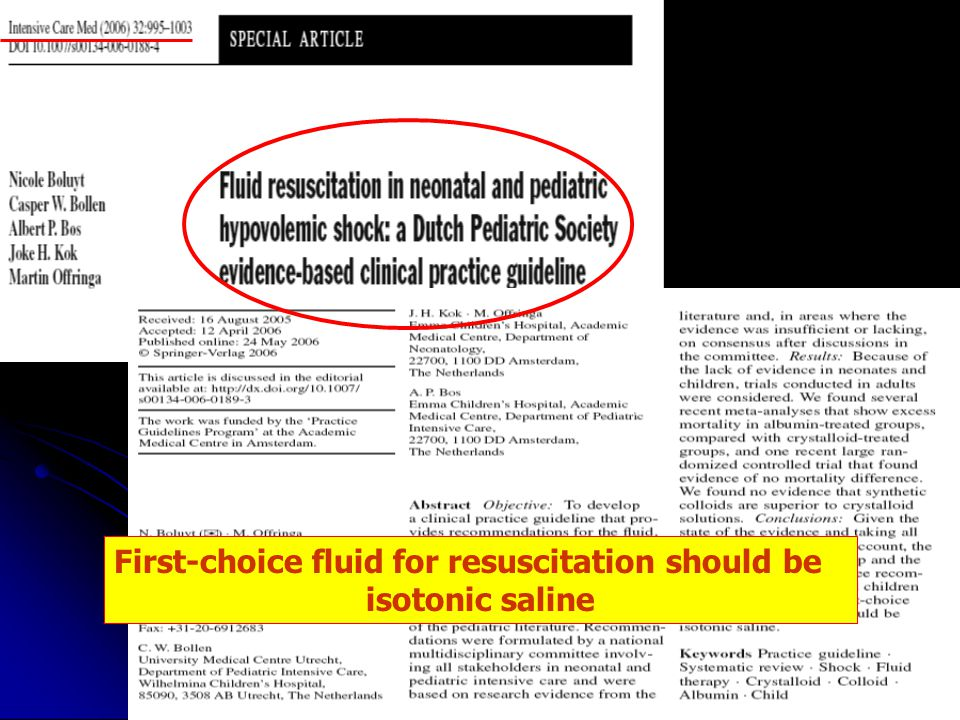 First-choice fluid for resuscitation should be