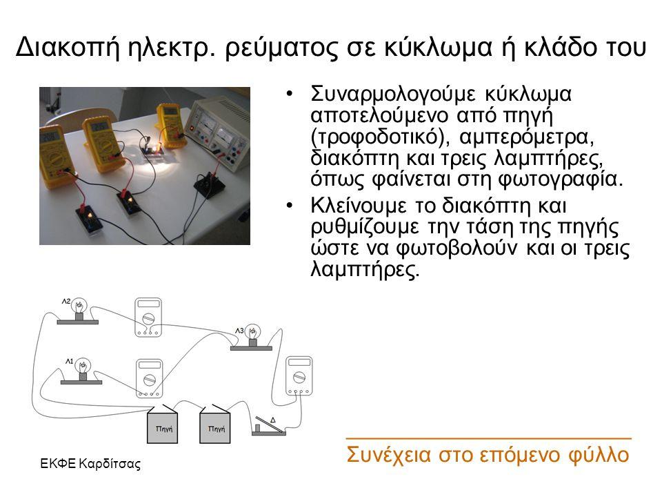 Διακοπή ηλεκτρ. ρεύματος σε κύκλωμα ή κλάδο του