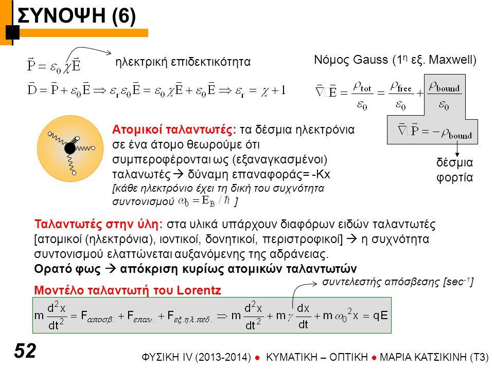 ΣΥΝΟΨΗ (6) 52 Νόμος Gauss (1η εξ. Maxwell) ηλεκτρική επιδεκτικότητα