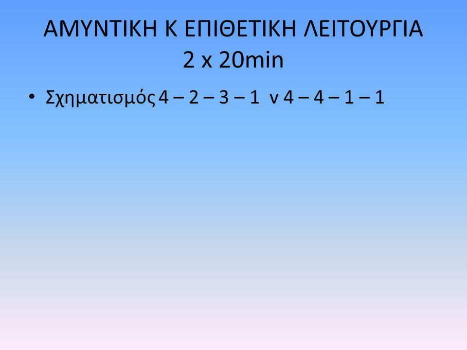 ΑΜΥΝΤΙΚΗ Κ ΕΠΙΘΕΤΙΚΗ ΛΕΙΤΟΥΡΓΙΑ 2 x 20min