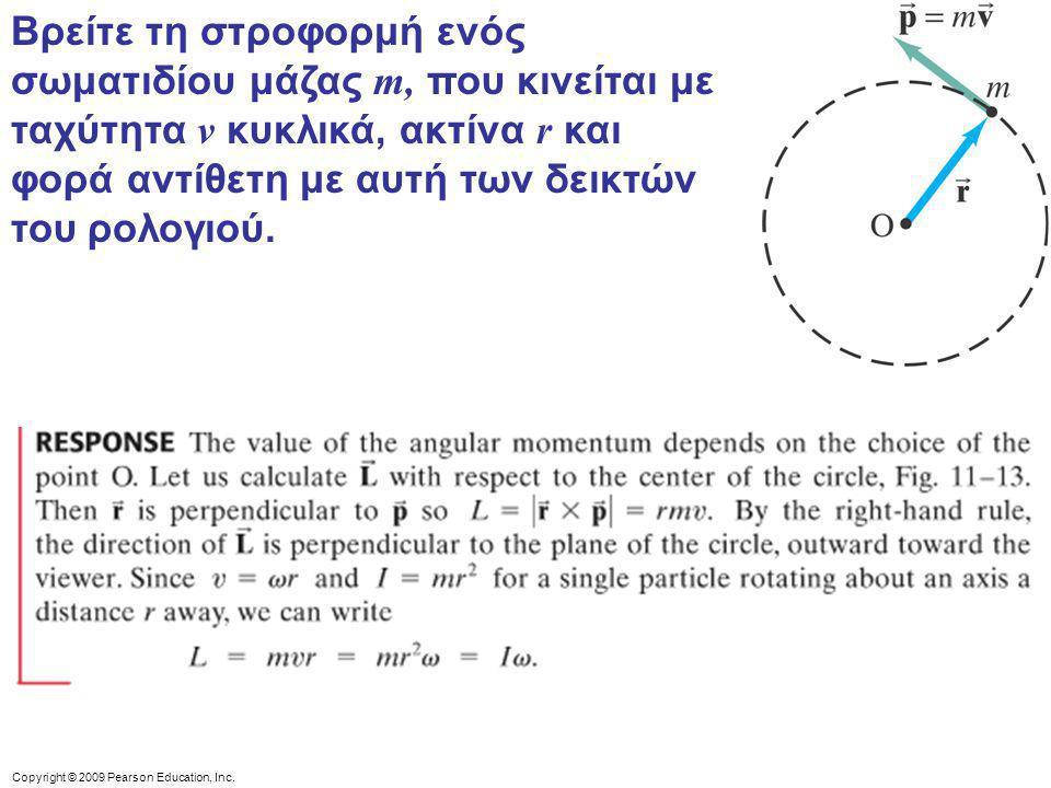 Βρείτε τη στροφορμή ενός σωματιδίου μάζας m, που κινείται με ταχύτητα v κυκλικά, ακτίνα r και φορά αντίθετη με αυτή των δεικτών του ρολογιού.