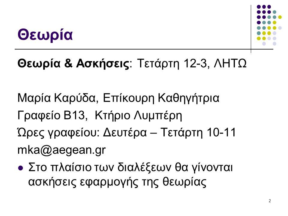 Θεωρία Θεωρία & Ασκήσεις: Τετάρτη 12-3, ΛΗΤΩ