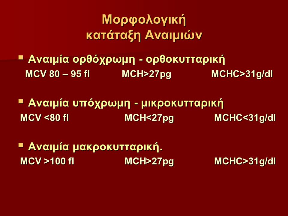 Μορφολογική κατάταξη Αναιμιών