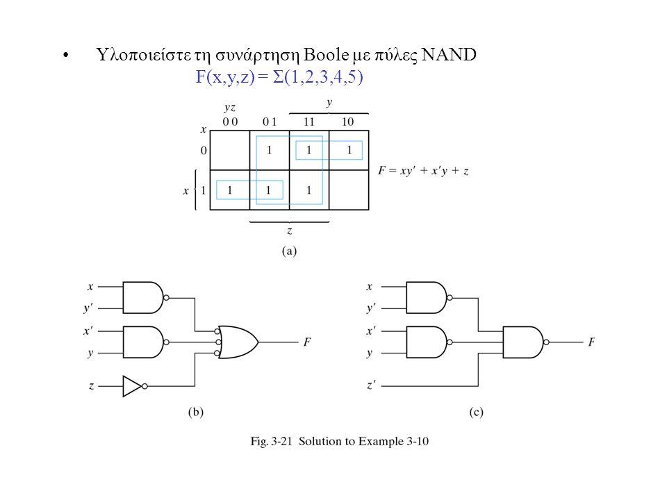 Υλοποιείστε τη συνάρτηση Boole με πύλες NAND