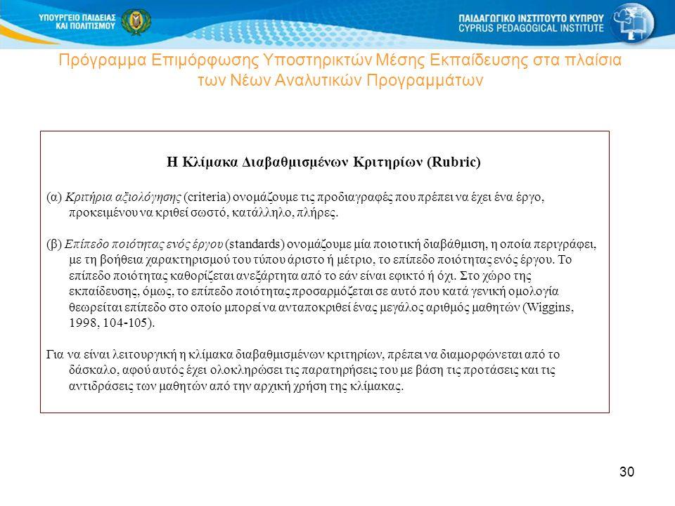 Η Κλίμακα Διαβαθμισμένων Κριτηρίων (Rubric)