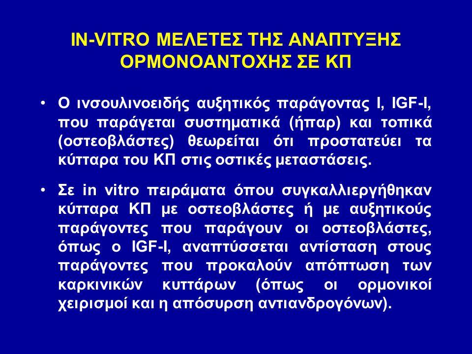 IN-VITRO ΜΕΛΕΤΕΣ ΤΗΣ ΑΝΑΠΤΥΞΗΣ ΟΡΜΟΝΟΑΝΤΟΧΗΣ ΣΕ ΚΠ