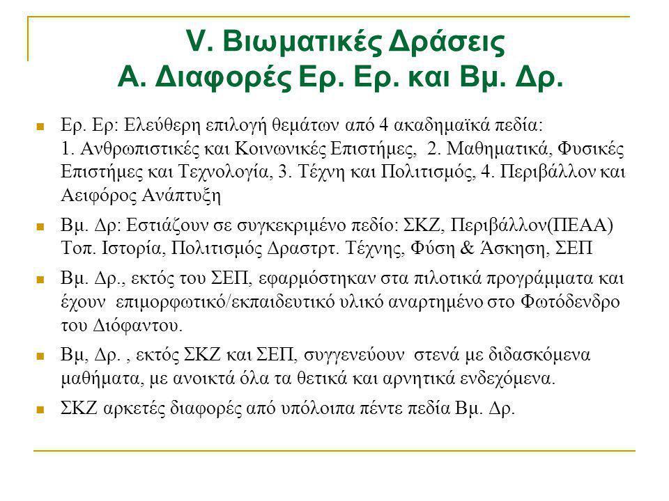 V. Βιωματικές Δράσεις Α. Διαφορές Ερ. Ερ. και Βμ. Δρ.