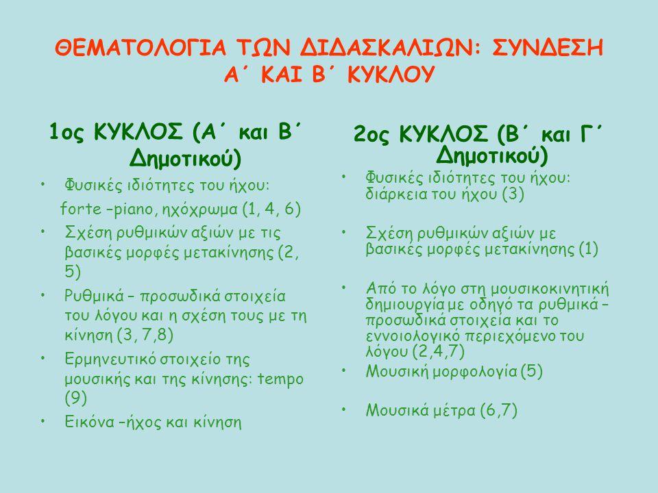 ΘΕΜΑΤΟΛΟΓΙΑ ΤΩΝ ΔΙΔΑΣΚΑΛΙΩΝ: ΣΥΝΔΕΣΗ Α΄ ΚΑΙ Β΄ ΚΥΚΛΟΥ