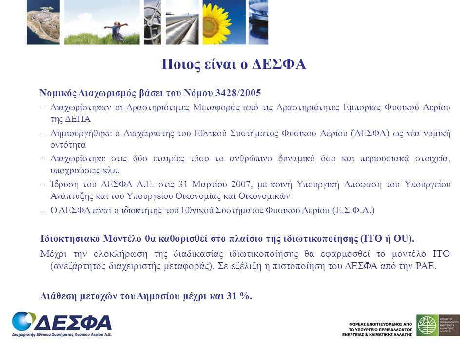 Ποιος είναι ο ΔΕΣΦΑ Νομικός Διαχωρισμός βάσει του Νόμου 3428/2005.
