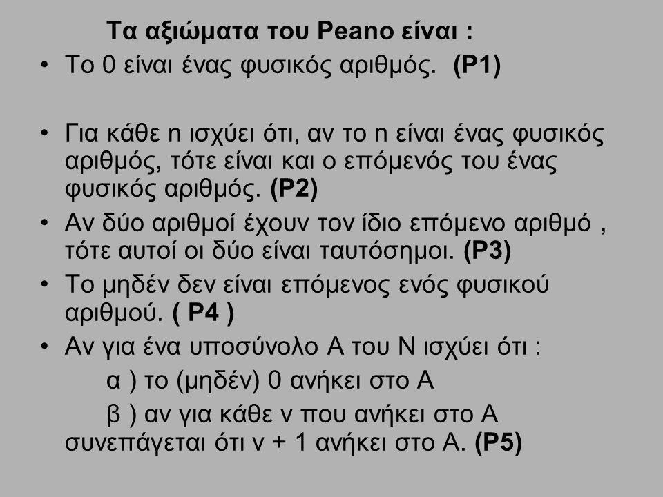 Τα αξιώματα του Peano είναι :