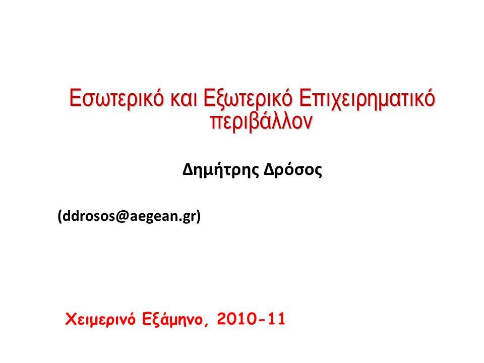 Εσωτερικό και Εξωτερικό Επιχειρηματικό περιβάλλον