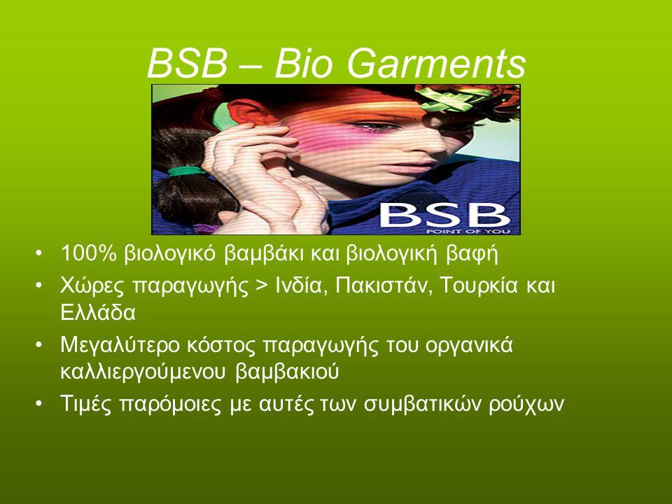 BSB – Bio Garments 100% βιολογικό βαμβάκι και βιολογική βαφή