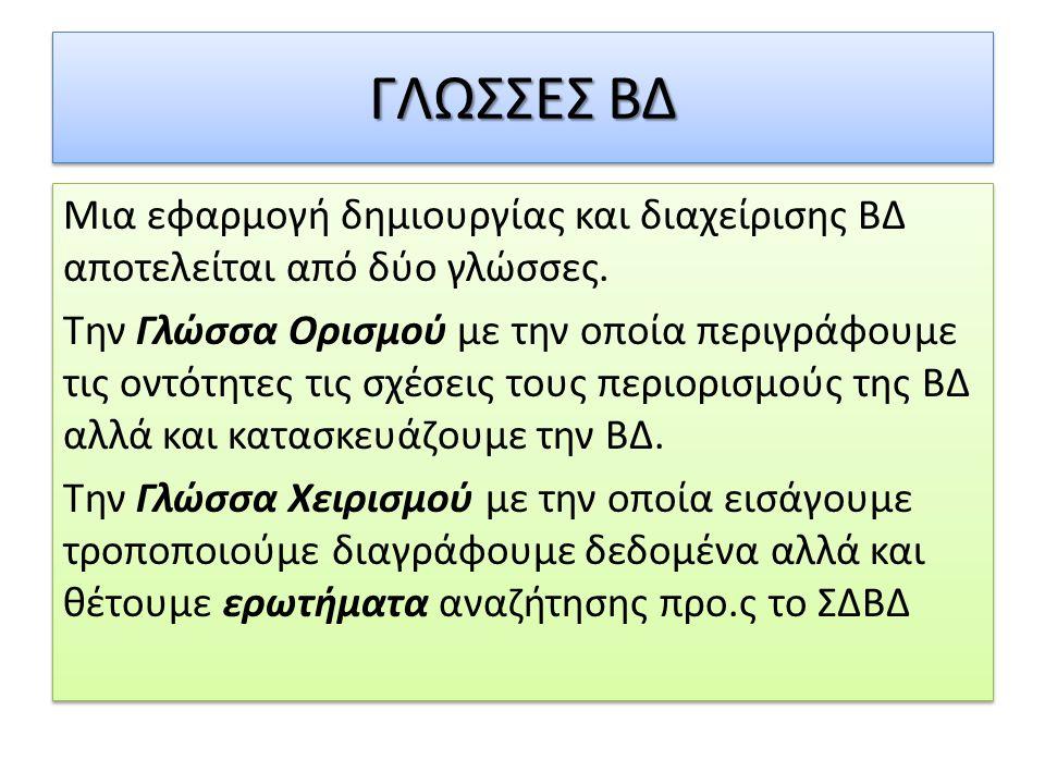 ΓΛΩΣΣΕΣ ΒΔ