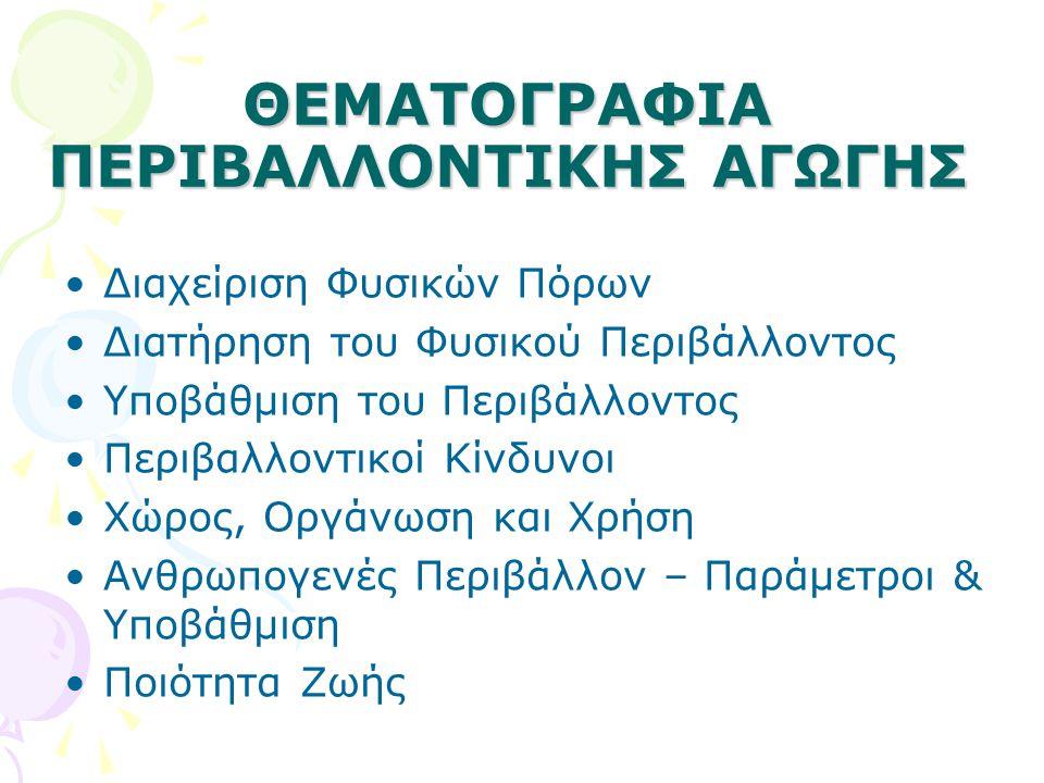 ΘΕΜΑΤΟΓΡΑΦΙΑ ΠΕΡΙΒΑΛΛΟΝΤΙΚΗΣ ΑΓΩΓΗΣ