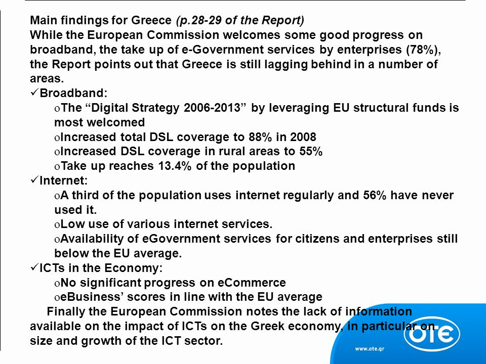 Main findings for Greece (p.28-29 of the Report)