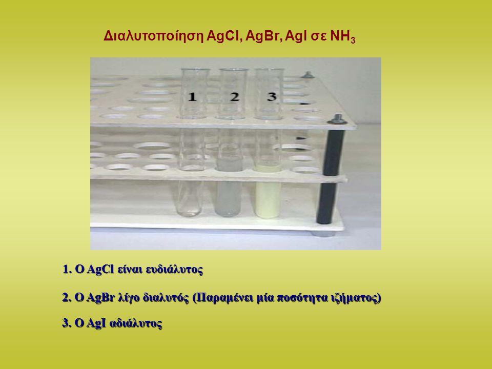 Διαλυτοποίηση AgCl, AgBr, AgI σε ΝΗ3