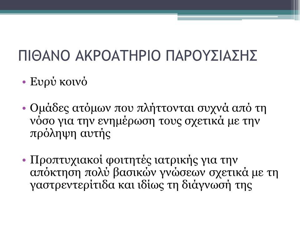 ΠΙΘΑΝΟ ΑΚΡΟΑΤΗΡΙΟ ΠΑΡΟΥΣΙΑΣΗΣ
