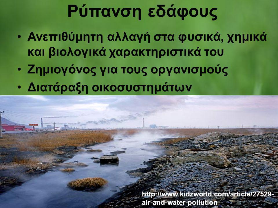 Ρύπανση εδάφους Ανεπιθύμητη αλλαγή στα φυσικά, χημικά και βιολογικά χαρακτηριστικά του. Ζημιογόνος για τους οργανισμούς.