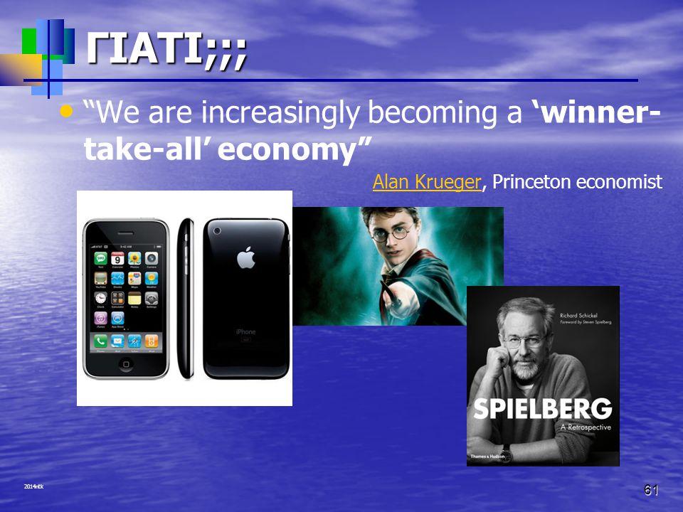 ΓΙΑΤΙ;;; We are increasingly becoming a 'winner-take-all' economy