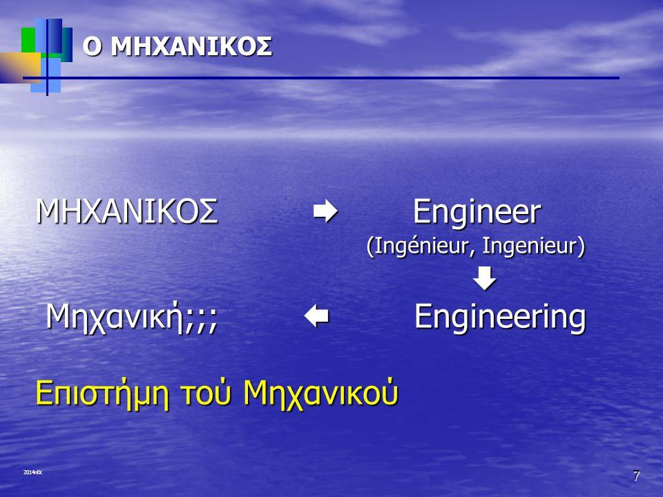 ΜΗΧΑΝΙΚΟΣ  Engineer (Ingénieur, Ingenieur) 