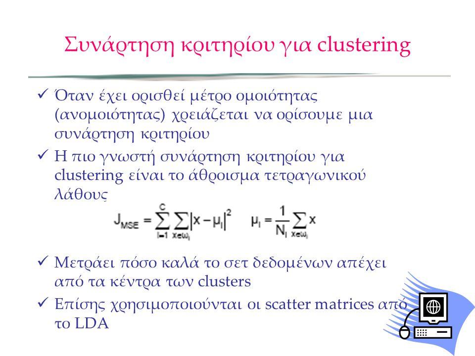 Συνάρτηση κριτηρίου για clustering