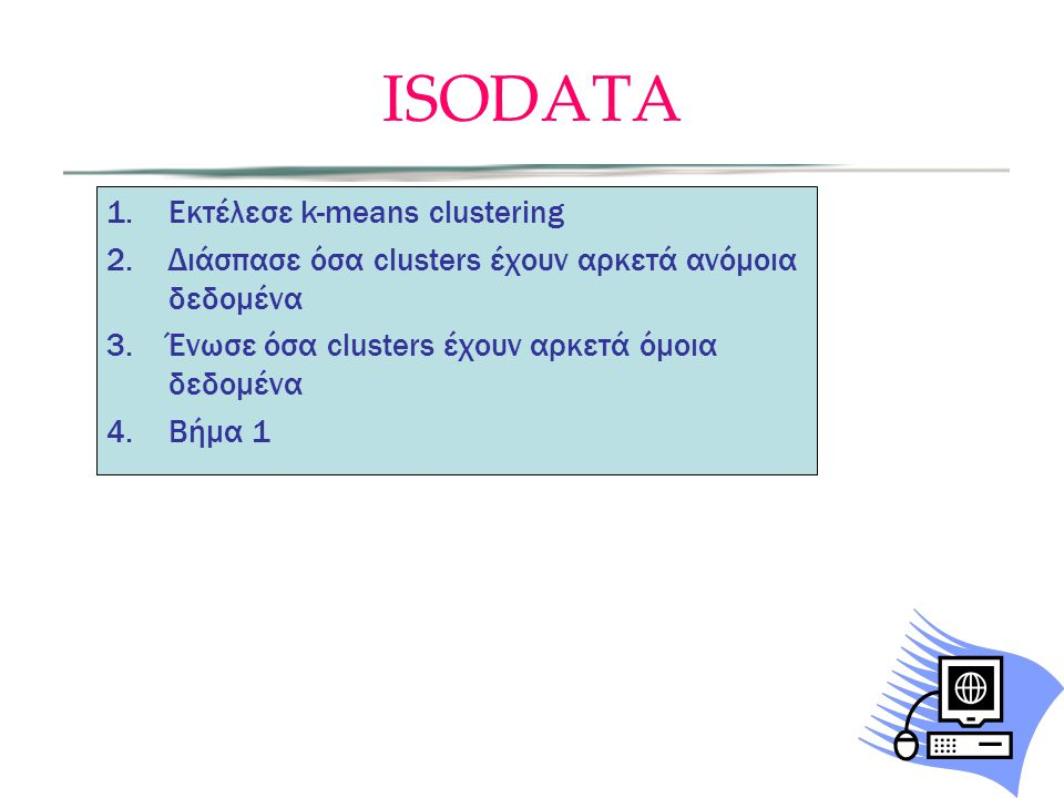 ISODATA Εκτέλεσε k-means clustering