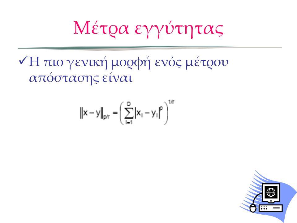 Μέτρα εγγύτητας Η πιο γενική μορφή ενός μέτρου απόστασης είναι