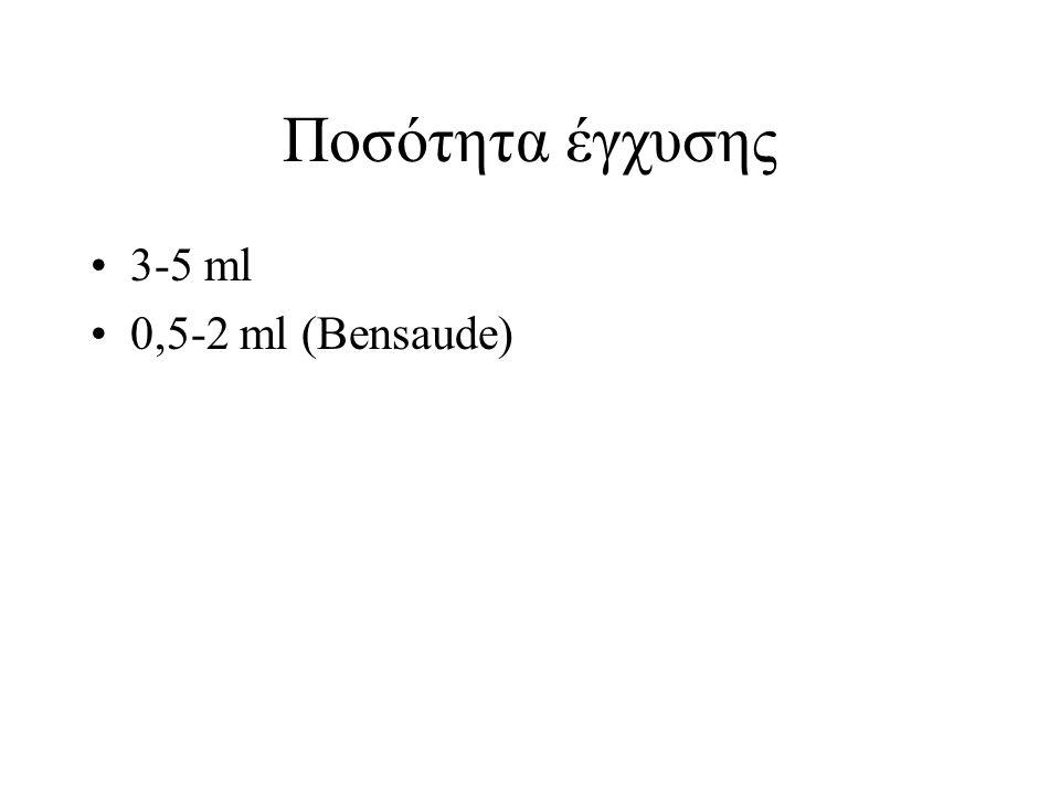 Ποσότητα έγχυσης 3-5 ml 0,5-2 ml (Bensaude)