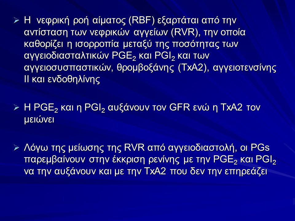 Η νεφρική ροή αίματος (RBF) εξαρτάται από την αντίσταση των νεφρικών αγγείων (RVR), την οποία καθορίζει η ισορροπία μεταξύ της ποσότητας των αγγειοδιασταλτικών PGE2 και PGI2 και των αγγειοσυσπαστικών, θρομβοξάνης (TxA2), αγγειοτενσίνης ΙΙ και ενδοθηλίνης