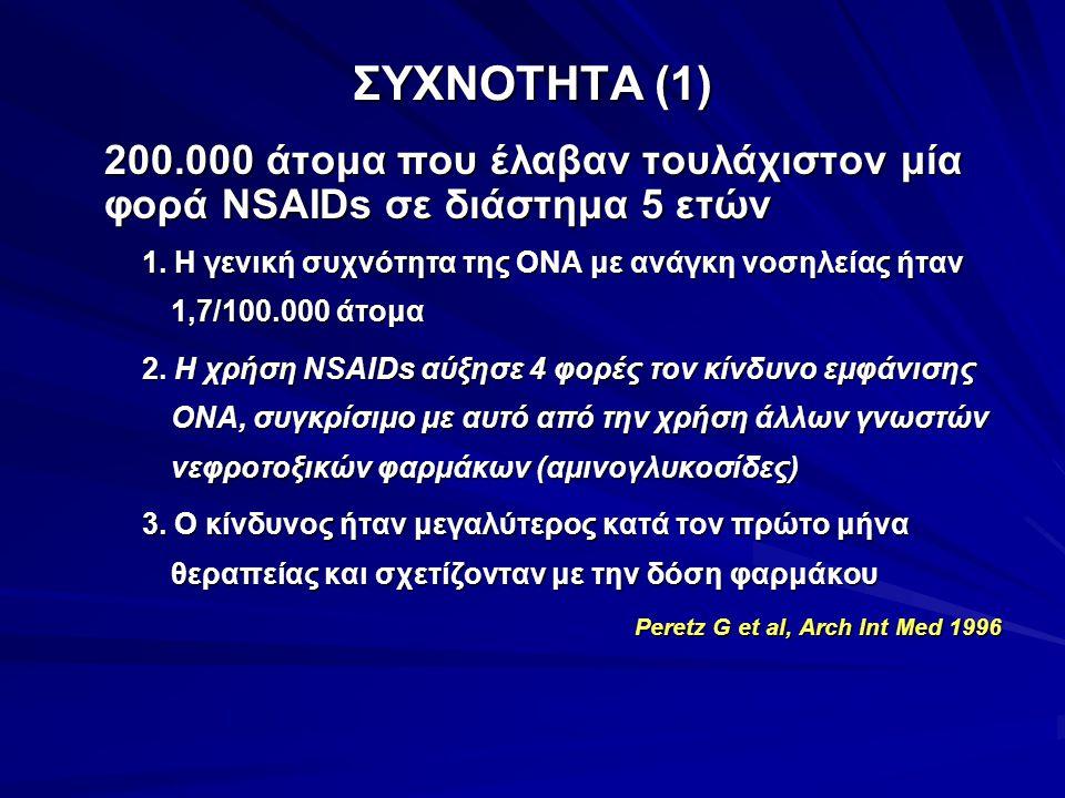 ΣΥΧΝΟΤΗΤΑ (1) 200.000 άτομα που έλαβαν τουλάχιστον μία φορά NSAIDs σε διάστημα 5 ετών.