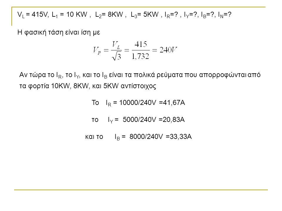 VL = 415V, L1 = 10 KW , L2= 8KW , L3= 5KW , IR= , ΙY= , ΙB= , ΙN=