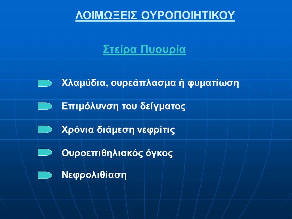 ΛΟΙΜΩΞΕΙΣ ΟΥΡΟΠΟΙΗΤΙΚΟΥ