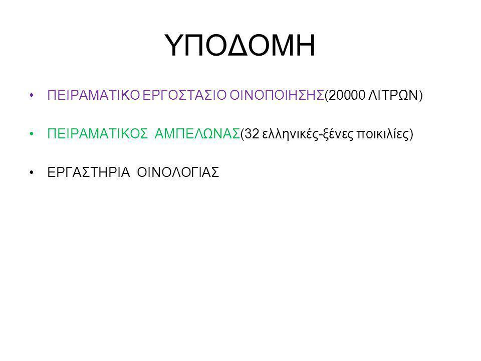 ΥΠΟΔΟΜΗ ΠΕΙΡΑΜΑΤΙΚΟ ΕΡΓΟΣΤΑΣΙΟ ΟΙΝΟΠΟΙΗΣΗΣ(20000 ΛΙΤΡΩΝ)