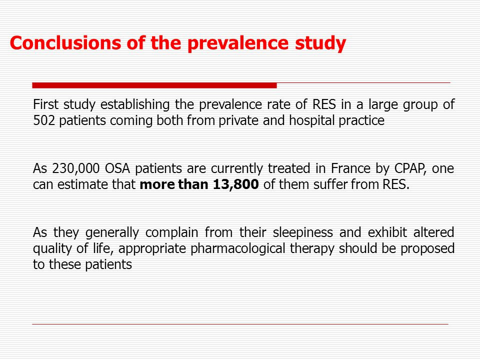 Conclusions of the prevalence study